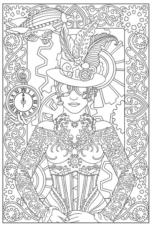 victorian steampunk coloring pages - photo#32